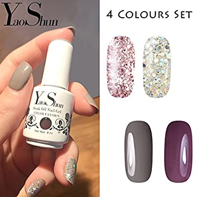 Y&S Soak Off Gel Nail Polish Sets Glitter 4 Colours UV LED Gel Polish Set Nail Salon Art Starter Kit #001, 8ml