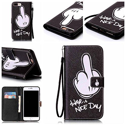 """iPhone 7 Plus Coque Noir Cuir Portefeuille Etui Rabat Style Coloré Peinture Image ( Warning Don't Touch My Phone ) Case pour Apple iPhone 7 Plus 5.5"""" Noir-4"""