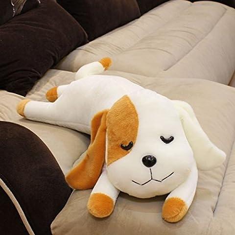 RBL Lindo Perro de Dibujos Animados Mentir Propenso a una Almohada de Doble Propósito Juguetes de Peluche Muñeca Regalo de Cumpleaños (23-inch, amarillo)