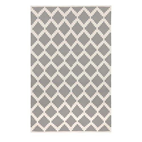 """URBANARA Teppich """"Satara"""" - 100% Baumwolle, Grau/Weiß mit großem Rautenmuster, handgewebt - 140 x 200 cm - 1 rechteckiger Teppich"""