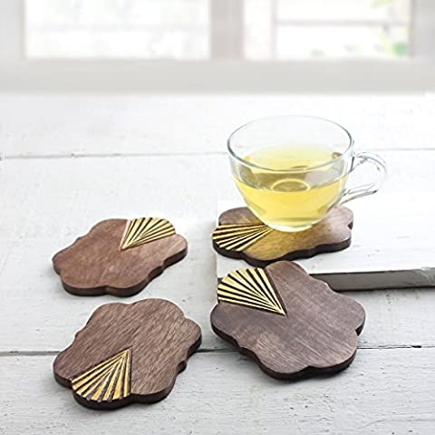 Store Indya Set of 4 coasters in wood walnut and gold leaf for tea and coffee Wine Beer Glass For Bar kitchen table room of the house with