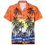 Shirt Herren LHWY Männer Männer Hawaii Hemd Kurzarm Fronttasche Strand Tshirt Slim Floral Bedruckt Bluse Top Tee Lässiges Poloshirt (L, Orange)