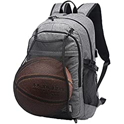 """valleycomfy joven hombres, de lienzo deporte mochila con red de baloncesto plegable y USB interfaz de carga para ocio/deporte/viaje bolsas de hombro (hasta 15,6""""), gris"""