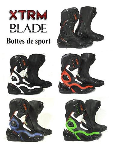 XTRM BLADE Bottes de Moto Nouveau 2017 sur la Route de Course de Tourisme Lourd Armure Bottes de Sport (Noir Rouge,...