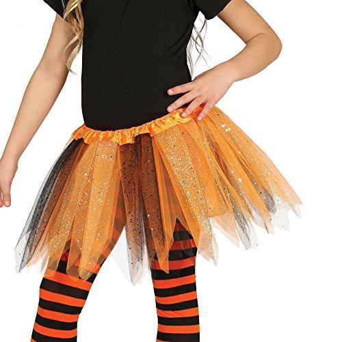 Tütü Tutu orange schwarz mit Glitzer für Kinder Fee Ballett Party Rock Tänzerin ca. 30cm