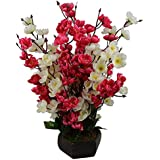 Hyperbole Bonsai Blossom Artificial Flowers With Wooden Pot(17inch)