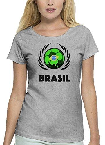 ShirtStreet Brasil Fussball WM Premium Fanfest Damen T-Shirt Bio Baumwolle Stanley Stella Fußball Brasilien Heather Grey