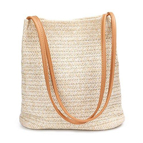 Beige Handtaschen Stroh (Pomelo Best Damen Stroh Schultertasche mit magnetischem Schnallen und Kunstleder Griff)