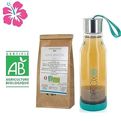 Tisane Bien-être Bio à base de Valériane + Bouteille infuseur detox - Fabriquée en France - Cure 15 jours - Des ingrédients 100% naturels pour atteindre un bon équilibre physique et nerveux