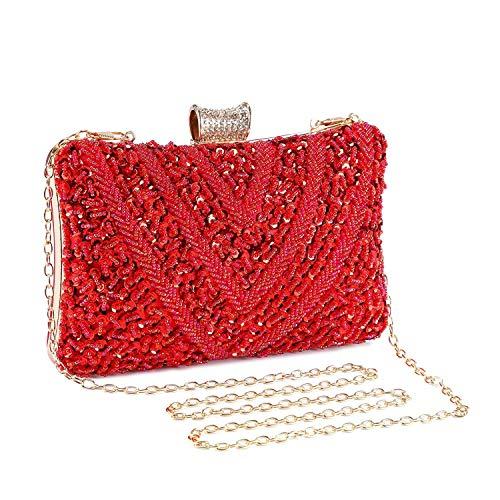 Abendtasche Damen Perle Clutch Bag Kette Shiny Pailletten Handtasche Klein Umhängetasche für Hochzeit Party - Burgund Rot (Bobby Pin Tasche)