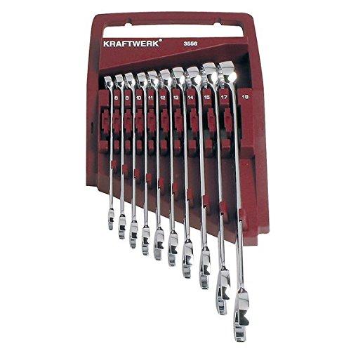Kraftwerk 3556 Bague clé à cliquet 8–19 mm 10 pièces entièrement poli