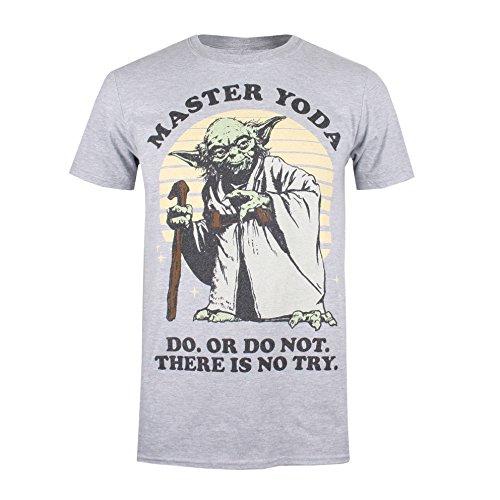 STAR WARS Master Yoda T-Shirt, (Grey Marl SPO), XXL Homme