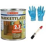 2 in 1 Hartlack Parkettlack, Grundierung und Lackierung inkl. 1 Pinsel von E-Com24 und Nitrilhandschuhe 750 ml seidenmatt