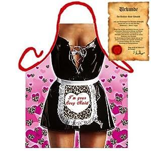 Sexy Koch und Grillschürze für Lack und Leder Fans! Zofe/Maid Inklusive Grillurkunde!