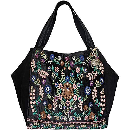 Anokhi Damen Shopper Big Ebony, Leather-Velvet Combi mit Stickerei, Black -