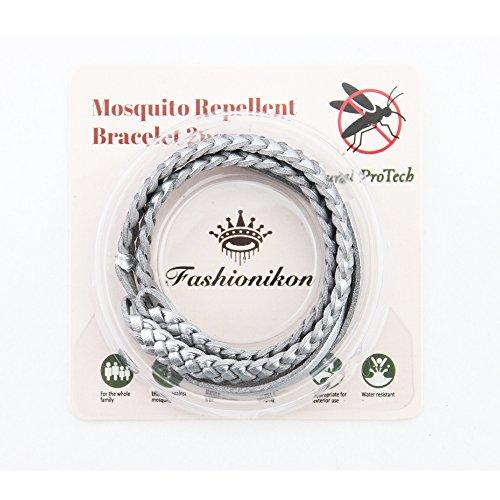 Imagen de fashionikon pulsera repelente de mosquitos, brazalete de cuero color plateado antimosquitos para muñeca, completamente natural, sin deet, no tóxica, pulseras repelentes para una larga protección