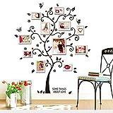 Vinilo adhesivo de pared con forma de árbol de Zooarts, para fotos familiares, decoración de estancias, mural, con flores y mariposas