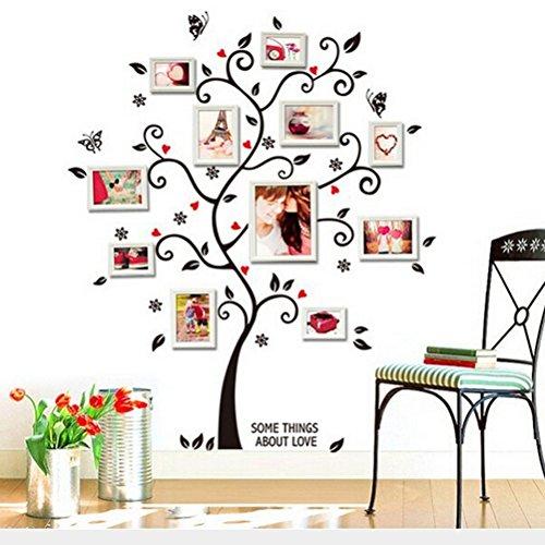 Zooarts Foto de familia Árbol de Happy adhesivo decorativo para pared, diseño de mariposas y flores Vinilo Adhesivos Decor Mural de Habitación