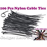 Gadget Hero's Nylon Cable Ties / Hose Tie - 1.8 X 100 mm. 100 Pcs. (Black)