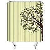 HUIYIYANG Benutzerdefinierte Duschvorhang,Karikatur-Baum und Einfacher Gelber Hintergrund Wasserdichter Anti-Mehltau Gewebe Polyester Badezimmer Duschvorhang 36