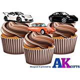 Porsche Sports Car Mix Kuchen Dekorationen - 12 Esspapier Cup Cake Topper