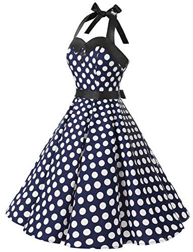 Dressystar Vintage Tupfen Retro Cocktail Abschlussball Kleider 50er 60er Rockabilly Neckholder Marineblau Weiß Dot