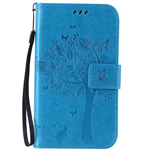kelman Custodia per Samsung Galaxy Grand Neo Plus/GT-i9060 / GT-i9082 Cover Custodia Case PU Pelle + Silicone TPU Entro Conchiglia Moda Goffratura Flip Portafoglio Custodia - [KT01 - Blu]