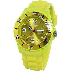 Time100 - Montre quartz Rotative Brillante Écologique Bracelet silicone À la mode Unisexe Jaune - W40012M.05A