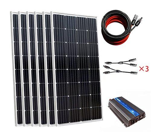 900W auf Grid Tie PV Solar Strom generieren System: 6150W hohe Effizienz Mono Solarzellen + 1000W-12V an 230V auf Grid Tie Wechselrichter für Home Power sypply (Solar Grid Pv Tie)