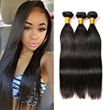Tissage Bresilien Straight Hair Tissage Lot De 3 Real Naturel Perruque Naturelle Human Hair Weaving Lisse Court 9A Grade 100G/ Bundles Total 300G(12 12 12 Pouces)