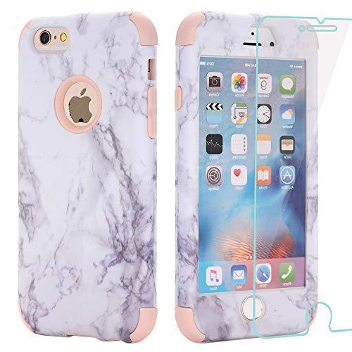 AOKER iPhone 6Plus Case, Marmor Design Slim Dual Layer Kratzfest stoßfest Hard Back Cover Soft Silikon Schutzhülle passgenau für iPhone 6Plus 6S Plus 14cm, Rosegold+Glass - Sechs Gelb Iphone Otterbox