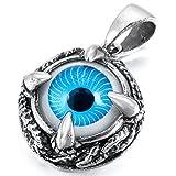 MunkiMix Edelstahl Anhänger Halskette Silber Ton Schwarz Blau Totenkopf Schädel Drachen Klaue Böse Evil Eye Auge Schlange Herren,mit 58cm Kette