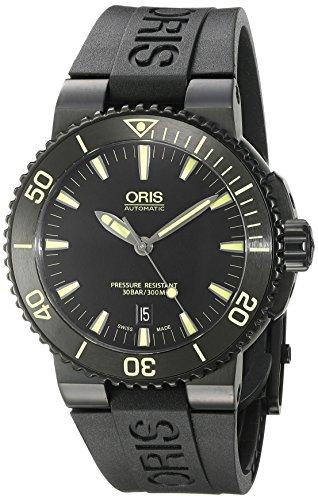 ORIS MEN'S 43MM BLACK RUBBER BAND STEEL CASE AUTOMATIC WATCH 73376534722RS