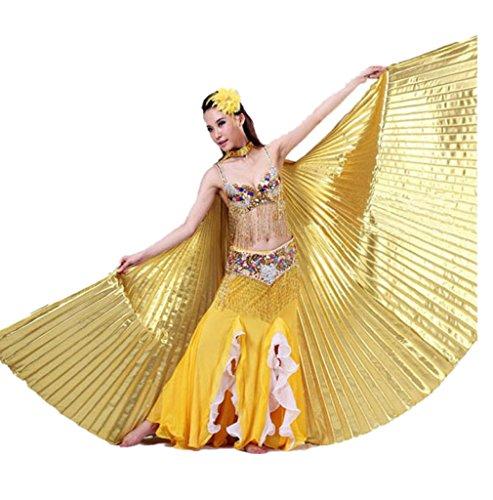 Ägypten Bauch Flügel Tanz Kostüm Bauchtanz Zubehör Keine Stöcke (Gold) (Gold Tanz Kostüm)