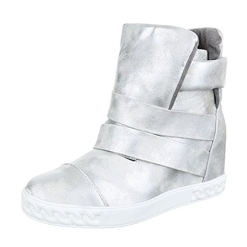 Ital-Design Keilstiefeletten Damen-Schuhe Keilabsatz/Wedge Keilabsatz Stiefeletten Silber, Gr 39, B-43-