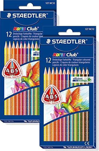 2 Etuis Staedtler Buntstifte Noris Club, erhöhte Bruchfestigkeit, dreikant, Set mit 12 brillanten Farben, ABS-System, kindgerecht nach DIN EN71, umweltfreundliches PEFC-Holz, Made in Germany, 127 NC12