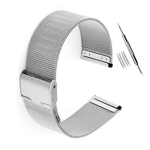 Adallor Armband,18 20 22 mm Breite Ersatzarmband Edelstahl Uhrenarmband - Schwar Silber Roségold Metallarmband für Damen und Herren Uhren Metall Mesh