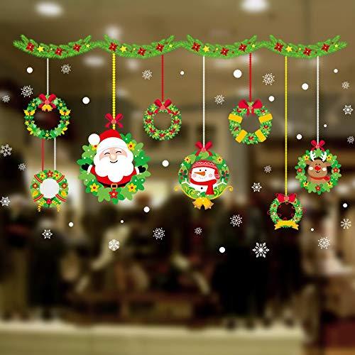Cartoon Weihnachtsmann Schneemann Kranz Wandaufkleber Für Kinderzimmer Fenster Wohnkultur Frohe Weihnachten Wandtattoos Pvc Tapete 45 * 60 Cm