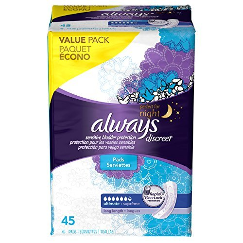 Preisvergleich Produktbild Always Discreet Ultimate Long Length Incontinence Pads, 45 Count by Always Discreet