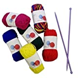 Craft Knitting Kit With Needles ~ 6 Multi Colour Knitting Yarns by Carousel Home