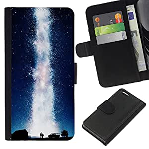 Leder Brieftasche Hülle Schutzhülle HandyHülle für Mobiltelefon Leather Wallet Case for Apple Iphone 5C / CECELL Phone case / / Universe Milky Way Geyser Water Love /