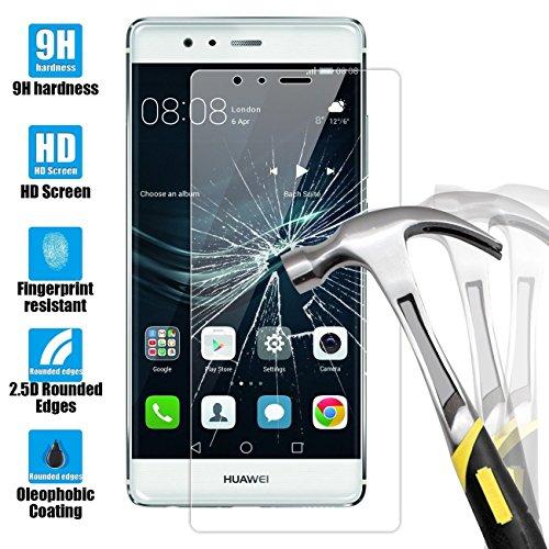 Protector de Pantalla para Huawei P9 Lite, NEWC® de vidrio templado para móvil Ultra Resistente Pantalla Protectora - Anti rasguño - SIN BURBUJAS DE AIRE - ULTRA RESISTENTE - (0,33mm HD Ultra transparente) Dureza 9H y fácil instalación sin burbujas para Huawei P9 Lite