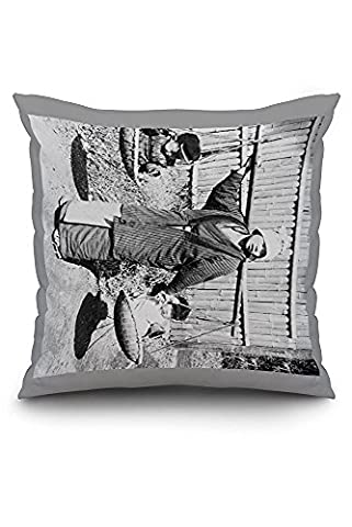 Japanese Woman with Children on a Yoke Photograph (20x20 Spun Polyester Pillow case, Custom Border)