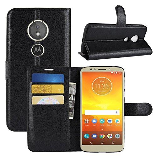 HualuBro Moto E5 Play Hülle, Premium PU Leder Leather Wallet HandyHülle Tasche Schutzhülle Flip Case Cover für Motorola Moto E5 Play/Moto E Play (5th Gen.) Smartphone (Schwarz)