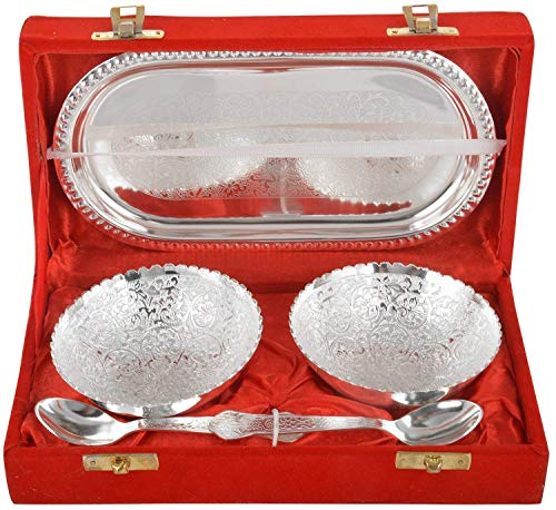 Rajasthan Emporium and Handicrafts Jaipur Ace German Silver Bowl, Spoon and Tray Set