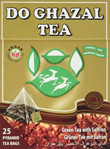 Do Ghazal grüner Tee mit Safran, Pyramiden Teebeutel, 4er Pack (4 x 50 g)