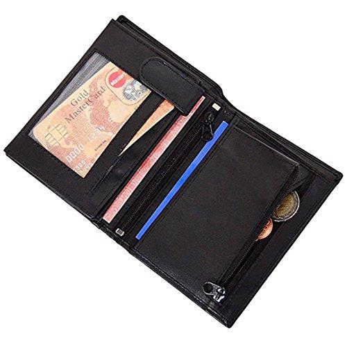 GoBago Branco Herren Geldbörse Leder Herrenbörse Portemonnaie Geldbeutel Kombibörse Münzfach mit Reißverschluss -