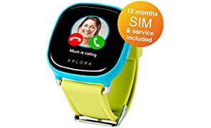 XPLORA smartwatch for kids (Blue, SIM with 12 months of calls, data and service included for UK)