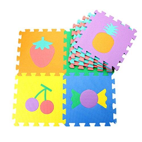 Beautylife66 Kinder Spielmatte Puzzlematte Bodenmatte EVA Schaumstoffmatte 30x30 cm Bunt (Obst)