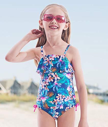 IKALI Mädchen Badeanzug Tankini, Blume gedruckt Bademode für Strand Baden Kleinkind/Kinder, Marine, 6-7Jahre